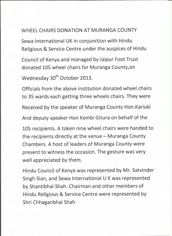 Wheel Chairs Donation at Muranga County